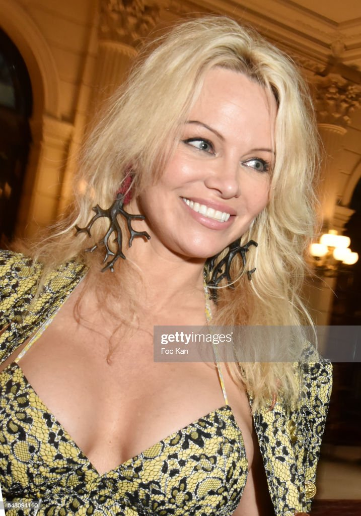 Pamela Anderson attends the Vivienne Westwood Show as part of the Paris Fashion Week Womenswear Fall/Winter 2017/2018 on March 4, 2017 at Hotel Intercontinental in Paris, France.