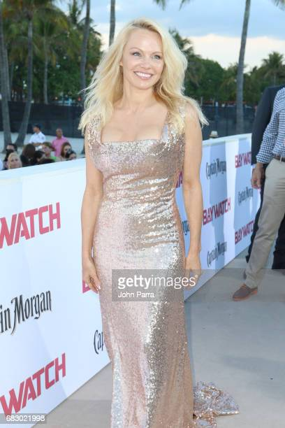 Pamela Anderson attends the world premiere of Paramount Pictures film 'Baywatch' at South Beach on May 13 2017 in Miami Florida