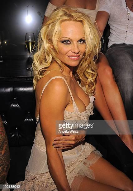 Pamela Anderson celebrates her birthday at Chateau Nightclub and Gardens at Paris Las Vegas on July 30 2011 in Las Vegas Nevada