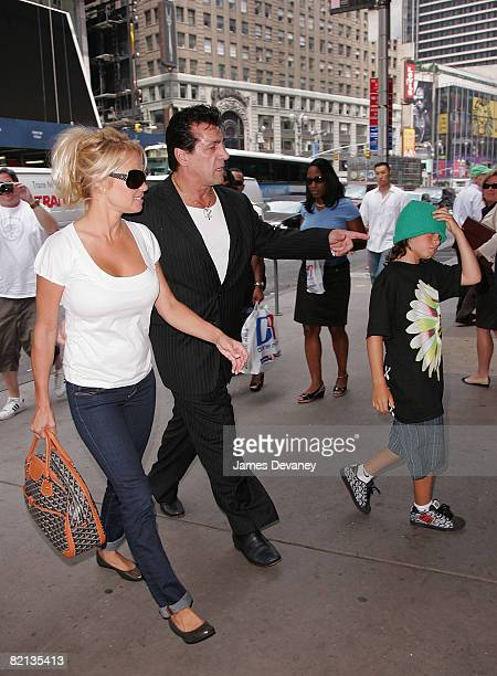 Pamela Anderson Chuck Zito and Dylan Lee visit ESPN Zone on July 31 2008 in New York City