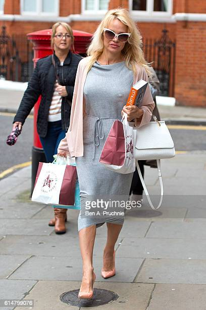 Pamela Anderson delivers lunch to Julian Assange at Embassy of Ecuador on October 15 2016 in London England