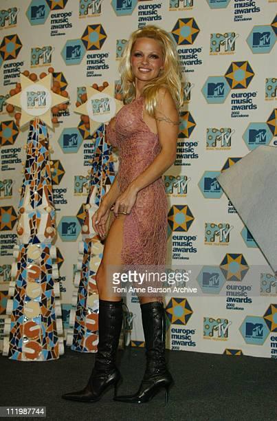 Pamela Anderson during 2002 MTV European Music Awards Press Room at Palau Sant Jordi in Barcelona Spain