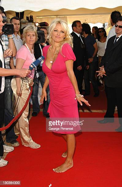 Pamela Anderson during 2007 Cannes Film Festival Blonde and Blonder Party on the Budweiser Select Yacht at Budweiser Yacht in Cannes France