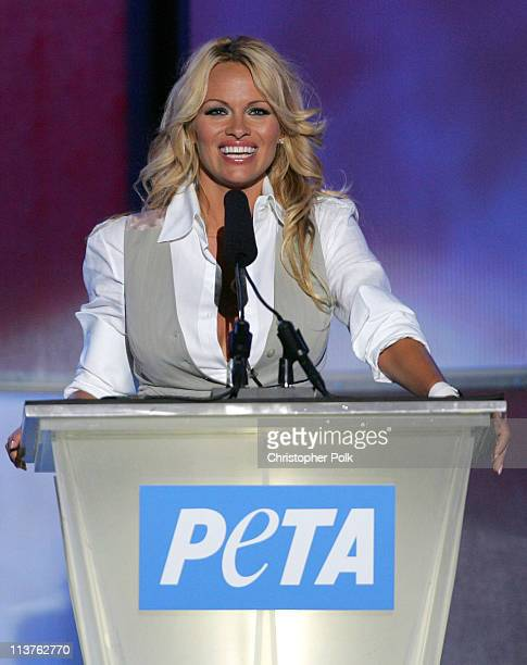 Pamela Anderson during 25th Anniversary Gala for PETA and Humanitarian Awards Show Presentation at Paramount Pictures in Hollywood California United...
