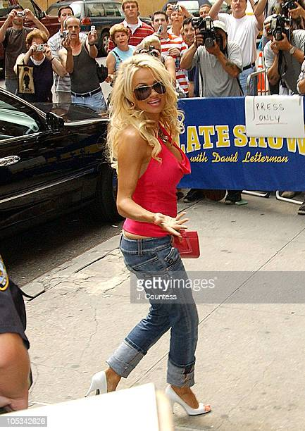 Pamela Anderson during Pamela Anderson Visits the Late Show with David Letterman August 2 2004 at Ed Sullivan Theatre in New York City New York...