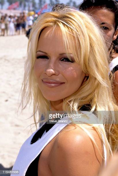 Pamela Anderson during Pamela on Baywatch Set in Huntington Beach California United States
