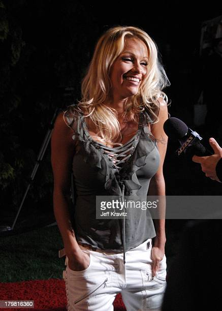 Pamela Anderson during The Official Launch Party For Spike TV At The Playboy Mansion Arrivals at The Playboy Mansion in Bel Air California United...