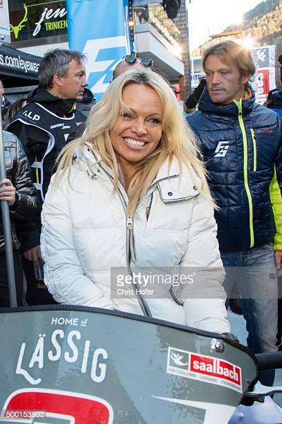 Pamela Anderson during the third and final day of the Formula Snow 2015 ski opening on December 5 2015 in SaalbachHinterglemm Austria