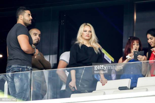 Pamela Anderson girlfriend Adil Rami of Marseille during the Ligue 1 match between Olympique Marseille and Toulouse at Stade Velodrome on September...