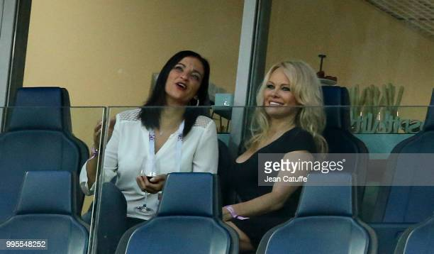 Pamela Anderson girlfriend of Adil Rami of France attend the 2018 FIFA World Cup Russia Semi Final match between France and Belgium at Saint...