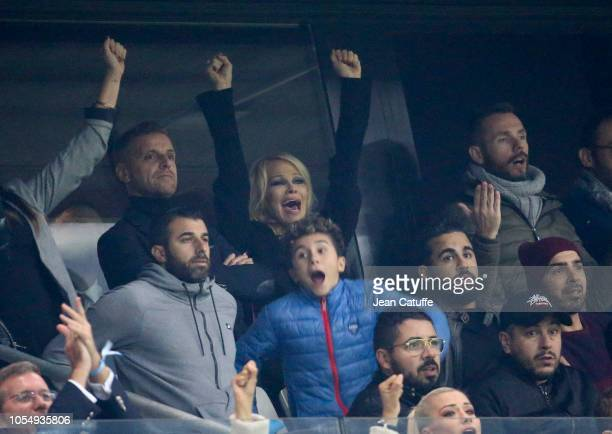 Pamela Anderson girlfriend of football player of Marseille Adil Rami cheers for him and OM during the french Ligue 1 match between Olympique de...