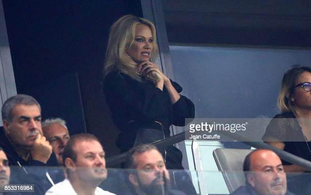 Pamela Anderson girlfriend of French player Adil Rami of OM attends the French Ligue 1 match between Olympique de Marseille and Toulouse FC at Stade...