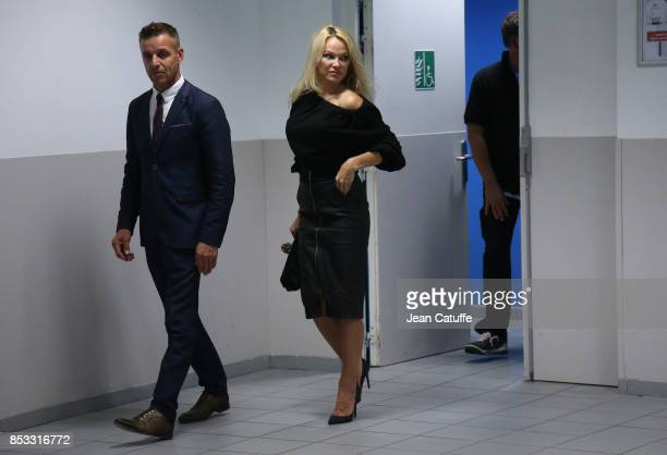 Pamela Anderson girlfriend of French player Adil Rami of OM leaves the stadium following the French Ligue 1 match between Olympique de Marseille and...