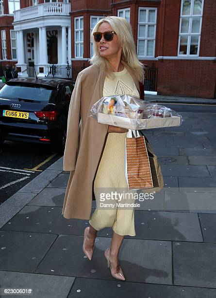 Pamela Anderson is seen at the Ecuadorian Embassy showing support for Julian Assange by bringing him a healthy vegan breakfast on November 13, 2016...
