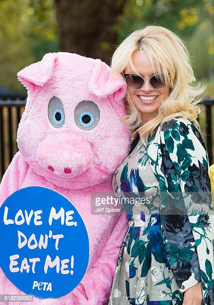 Pamela Anderson joins PETA to promote vegan food at Marble Arch on October 26 2016 in London England