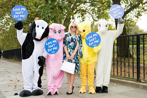 Pamela Anderson joins PETA to promote vegan food at Marble Arch on October 26, 2016 in London, England.