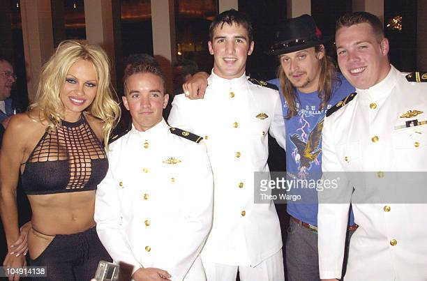 Pamela Anderson Kid Rock with US Navy men during 2001 MTV Video Music Awards Audience and Backstage at The Metropolitan Opera House at Lincoln Center...