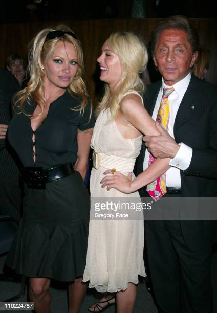Pamela Anderson Lindsay Lohan and Valentino during Valentino Fragrance Launch Party For Valentino V at Four Seasons in New York City New York United...