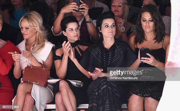 Pamela Anderson Neve Campbell Jaimie Alexander and Ashley Graham attend the Christian Siriano fashion show during New York Fashion Week The Shows at...