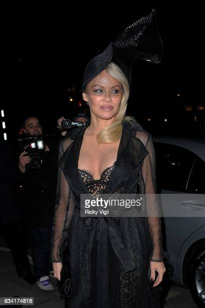 Pamela Anderson seen arriving at Annabel's for Coco de Mer PreValentine's Day fashion show on February 7 2017 in London England