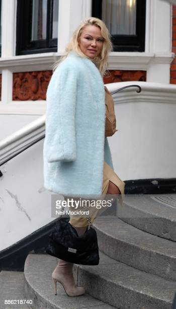 Pamela Anderson seen arriving at the Ecuadorian Embassy to visit her friend Julian Assange on December 5 2017 in London England