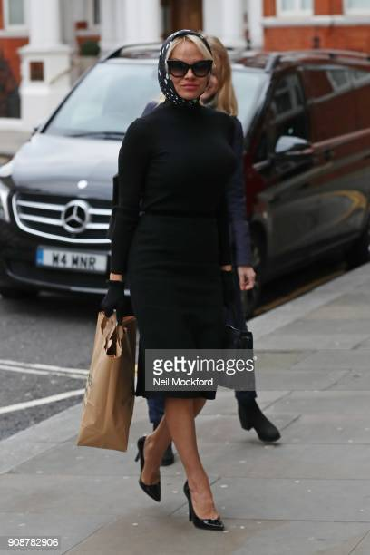 Pamela Anderson seen at the Embassy of Ecuador to take a vegan lunch to her friend Julian Assange on January 22 2018 in London England