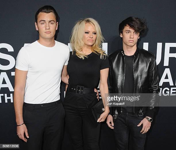 Pamela Anderson son Brandon Thomas Lee and son Dylan Jagger Lee arrive at SAINT LAURENT At The Palladium at Hollywood Palladium on February 10 2016...