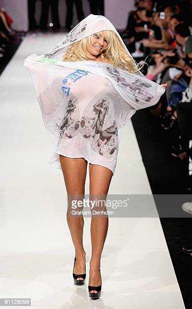 Pamela Anderson walks the catwalk following the A Muse by Richie Rich collection show on day four of Air New Zealand Fashion Week 2009 at the Westpac...