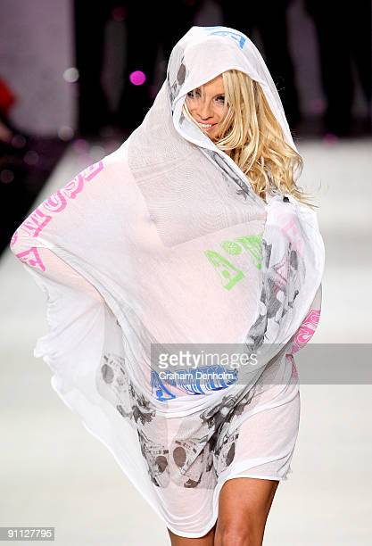 Pamela Anderson walks the catwalk followoing the A Muse by Richie Rich collection show on day four of Air New Zealand Fashion Week 2009 at the...