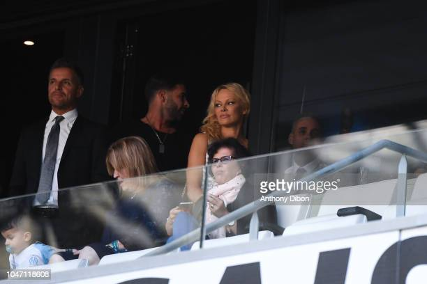 Pamela Anderson wife of Adil Rami during the Ligue 1 match between Marseille and Caen at Stade Velodrome on October 7 2018 in Marseille France