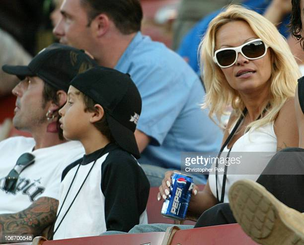 Pamela AndersonTommy Lee and 2 children Brandon Thomas and Dylan Jagger watch the X Games Moto X Freestyle competition at the AL Coliseum in Los...