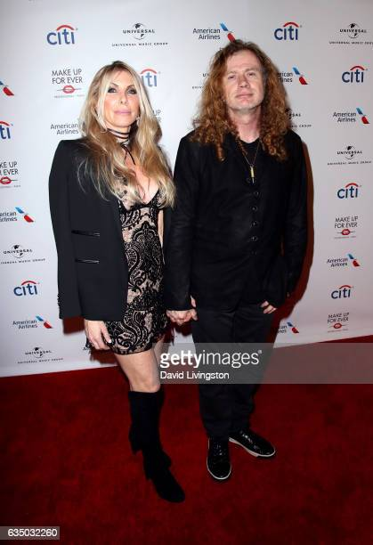 Pamela Anne Casselberry and Dave Mustaine attend Universal Music Group's 2017 GRAMMY after party at The Theatre at Ace Hotel on February 12 2017 in...