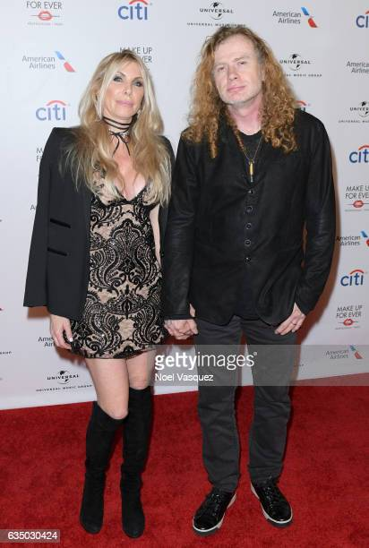 Pamela Anne Casselberry and musician Dave Mustaine arrive at Universal Music Group 2017 Grammy after party presented by American Airlines and Citi at...