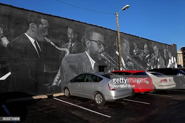 Pamela Bliss' 'Jazz Masters of Indiana Avenue' mural featuring David Young Jimmy Coe David Baker JJ Jphnson Slide Hampton Freddie Hubbard Larry...