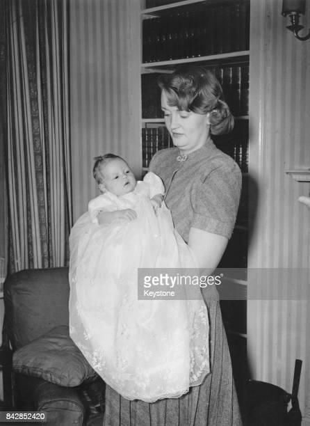 Pamela Churchill Harriman the wife of Randolph Churchill holding her son Winston the grandson of former Prime Minister Winston Churchill 23rd April...