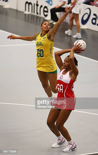 Pamela Cookey of England shoots as Chanel Gomes of Australia challenges during the England v Australia International Netball Series match at the...