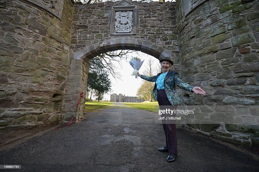 Pamela Countess of Mansfield helps unveil the restored historic archway at Scone Palace on November 23, 2012 in Perth,Scotland. The iconic 16th century arch, which was all that remained of the approach to the Augustinian Abbey which once stood on the Palace lawns, was destroyed after a contractor driving a van crashed into it two years ago. Scone Palace is best known as the place where former kings of Scotland were crowned and the original home of the Stone of Destiny.