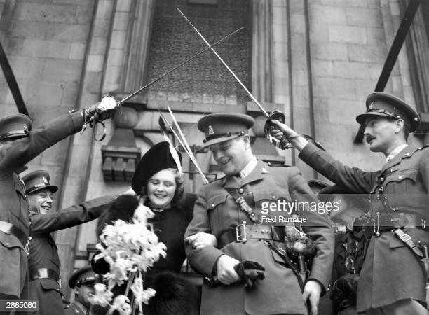 Pamela Digby leaving to St John's Church Westminster London after her wedding to Randolph Churchill the Conservative politician and son of Winston...