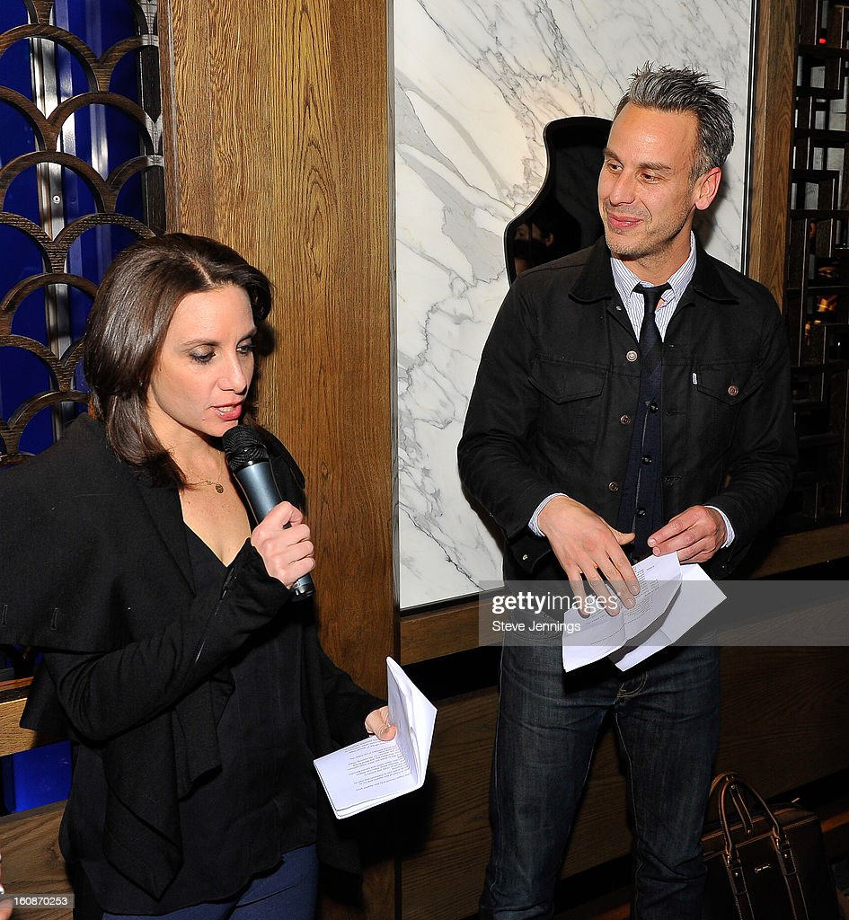 Pamela Drucker Mann and Adam Rapoport (L-R) speak to guests at the Exclusive Preview of the 2013 Vegas Uncork'd By Bon Appetit at One Kearny Street on February 6, 2013 in San Francisco, California.