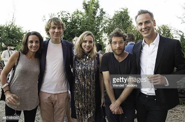 Pamela Drucker Mann Paul Dano Zoe Kazan Dustin Yellin and Adam Rapoport attend the Rachel Comey show at Pioneer Works on September 9 2015 in the...