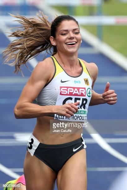 Pamela Dutkiewicz of Germany celebrates winning the 100m Hurdles on day 3 of the 2017 European Athletics Team Championships at Stadium Lille...