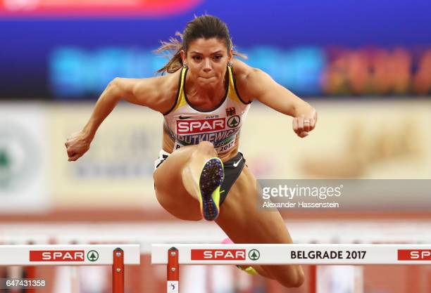 Pamela Dutkiewicz of Germany competes in the Women's 60 metres hurdles heats on day one of the 2017 European Athletics Indoor Championships at the...