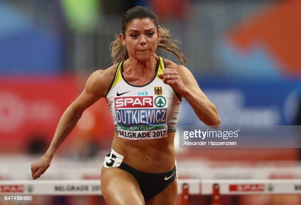 Pamela Dutkiewicz of Germany competes in the Women's 60 metres hurdles semi finals on day one of the 2017 European Athletics Indoor Championships at...