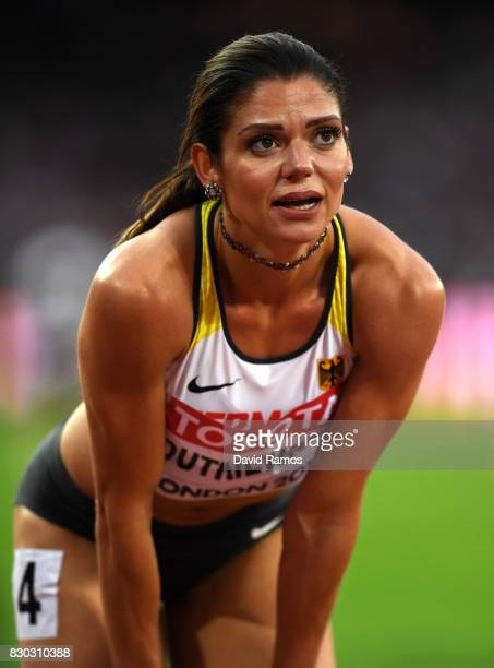 Pamela Dutkiewicz of Germany reacts after competing in the Women's 100 metres hurdles semi finals during day eight of the 16th IAAF World Athletics...