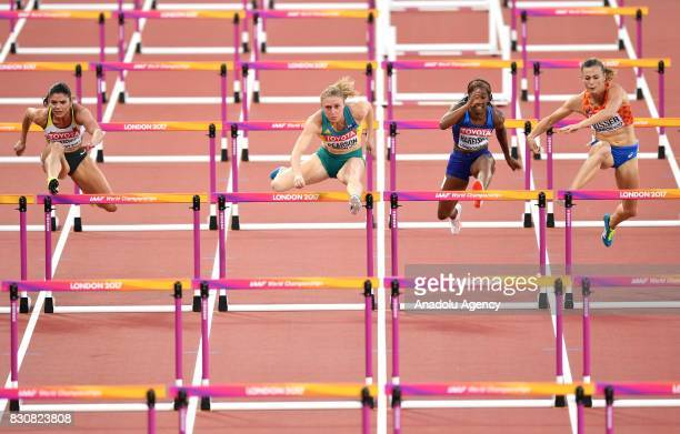 Pamela Dutkiewicz of Germany Sally Pearson of Australia Kendra Harrison of the USA and Nadine Visser of the Netherlands compete in the Women's 100...