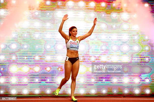Pamela Dutkiewicz of Germany starts in the Women's 60 metres hurdles final on day one of the 2017 European Athletics Indoor Championships at the...