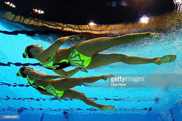 Pamela Fischer and Anja Nyffeler of Switzerland compete in the Women's Duets Synchronised Swimming Technical Routine on Day 9 of the London 2012...