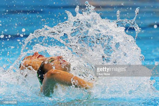 Pamela Fischer and Anja Nyffeller of Switzerland compete in the Women's Duets Synchronised Swimming Technical Routine on Day 9 of the London 2012...
