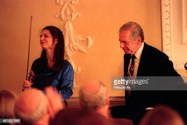Pamela Frank accompanied by her father Claude Frank performed the music of Mozart Beethoven and Brahms at the Metropolitan Museum of Art on Sunday...