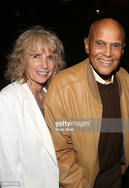 Pamela Frank and husband Harry Belafonte pose backstage at the hit play Turn Me Loose at The Westside Theatre on May 31 2016 in New York City